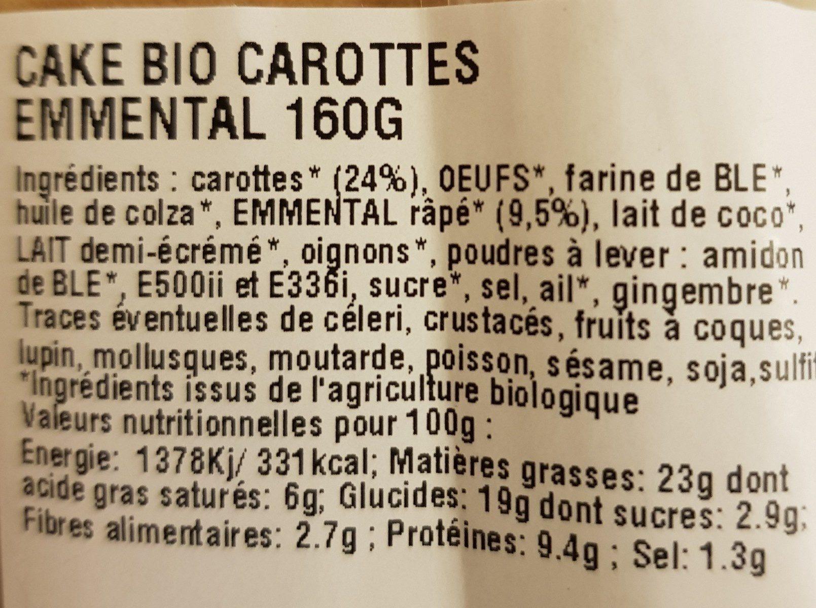 Cake carottes & emmental - Ingrédients - fr