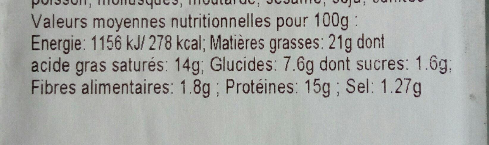 soufflés a l emmental - Informations nutritionnelles - fr