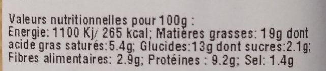 Cake chevre et basilic sans gluten - Nutrition facts