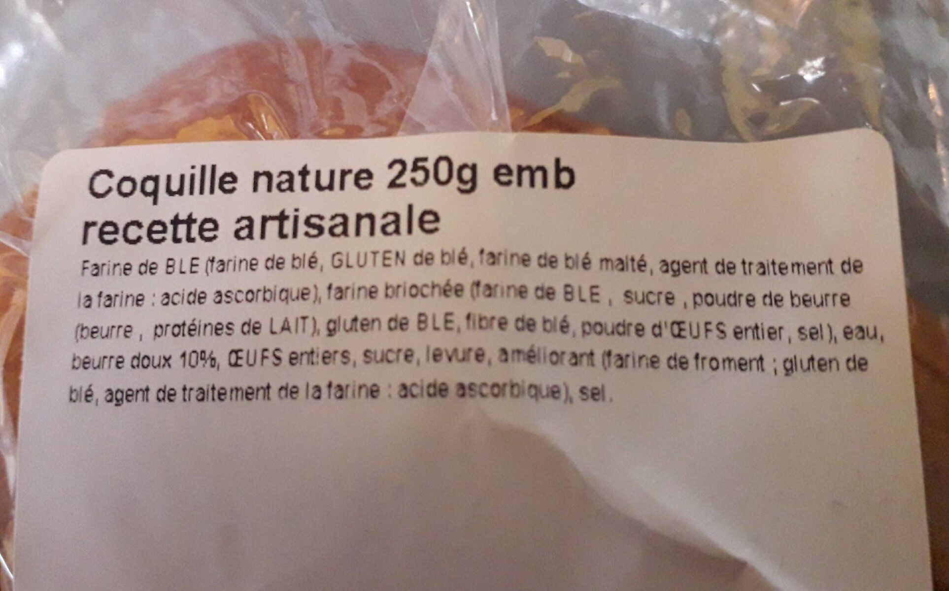 Coquille Nature 250g emb - Informations nutritionnelles - fr