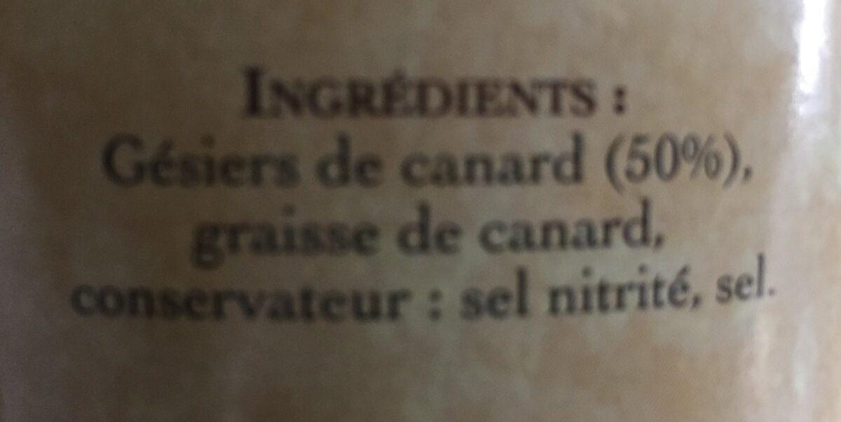 gesiers confits de canard - Ingredients