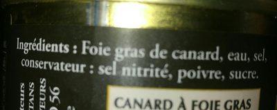 Bloc de foie gras de canard du sud ouest - Ingrédients