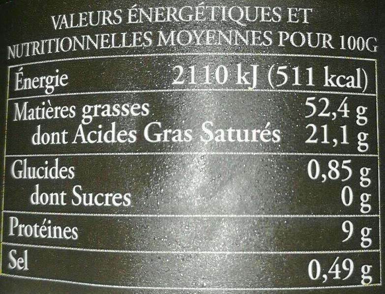 Bloc de foie gras de canard du sud ouest - Informations nutritionnelles