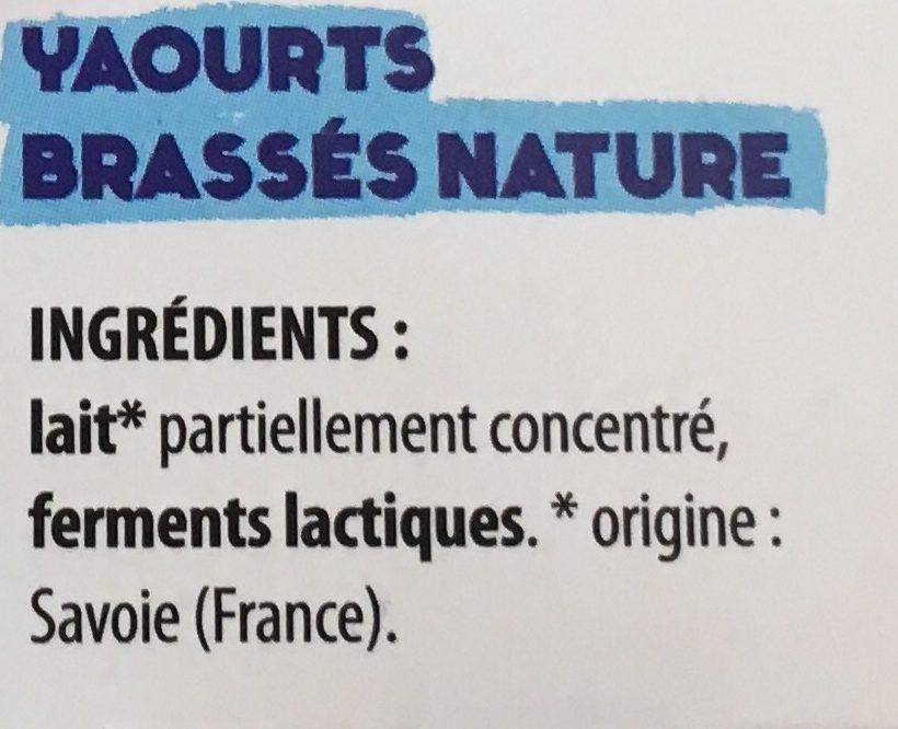 Yaourts brassés nature au lait de Savoie - Ingrediënten - fr