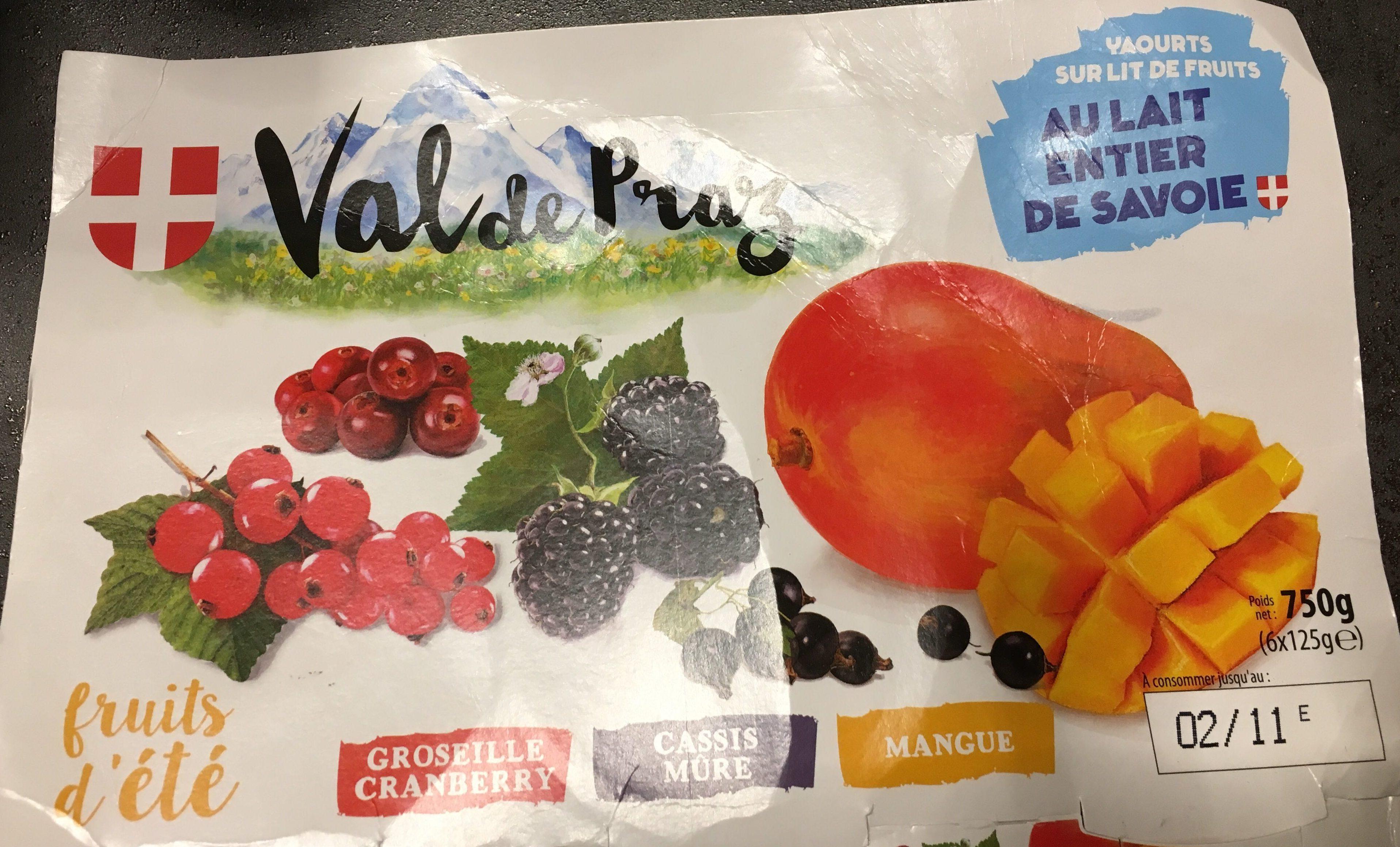Yaourts sur lit de fruits au lait entier de Savoie Fruits d'été - Product