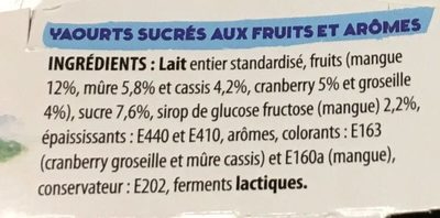 Yaourts sur lit de fruits au lait entier de Savoie Fruits d'été - Ingrediënten