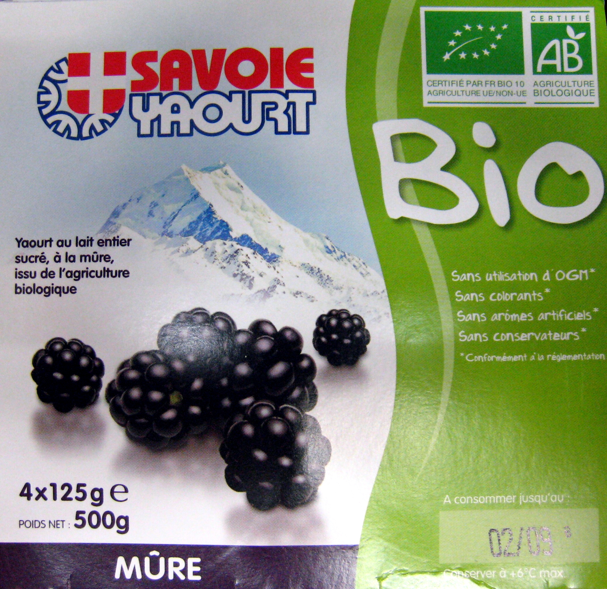 Yaourt au lait entier sucré à la mûre Bio - Produit - fr