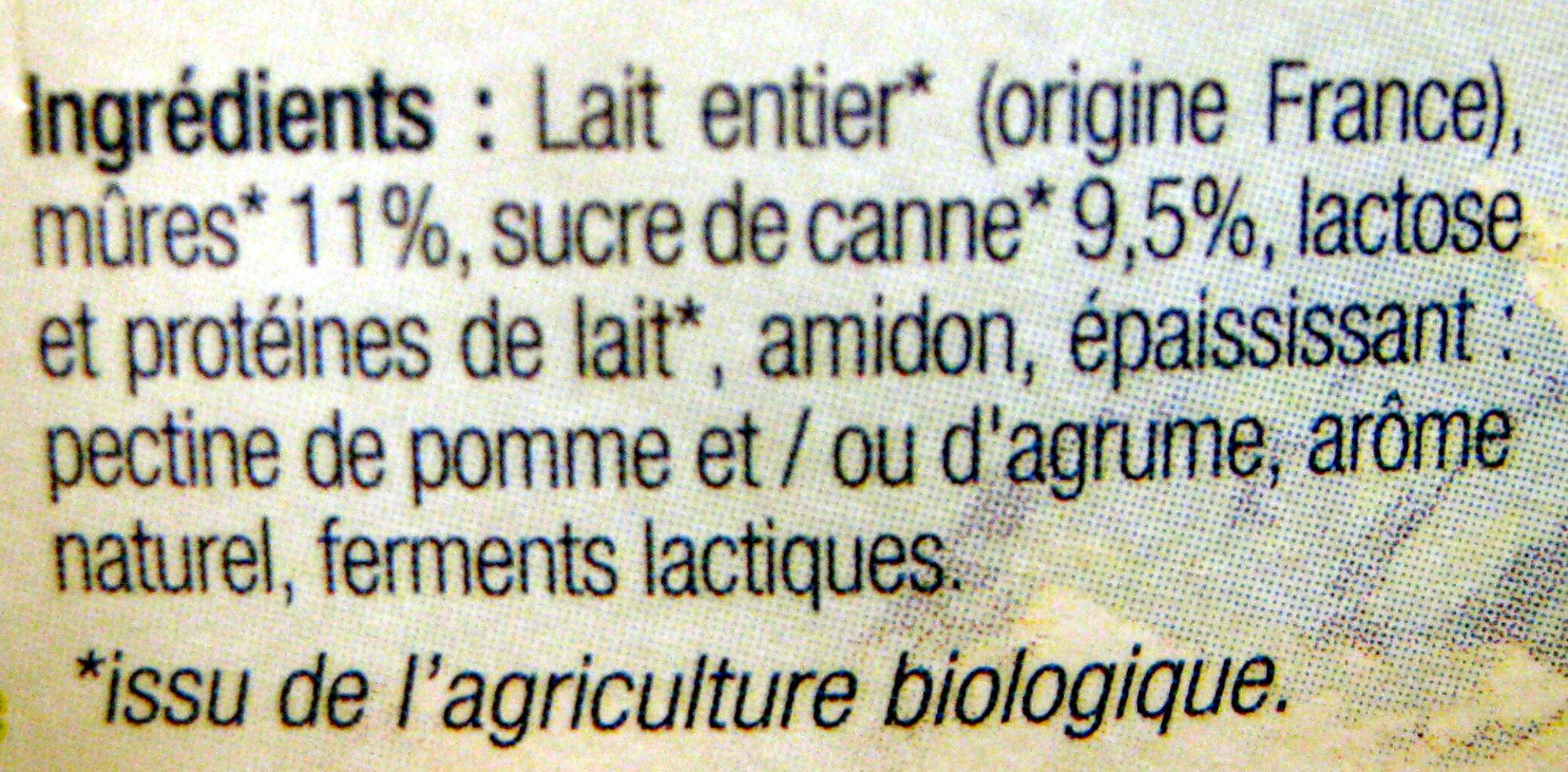 Yaourt au lait entier sucré à la mûre Bio - Ingrédients - fr