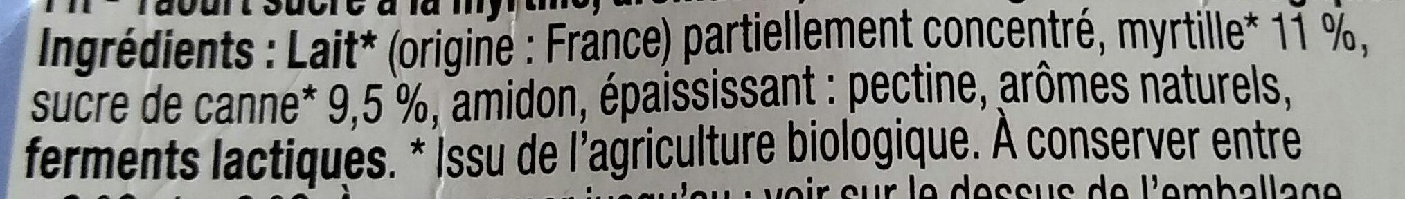 Yaourt sucré à la myrtille , Bio - Ingredienti - fr