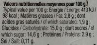 Yaourt sucré à la myrtille , Bio - Informazioni nutrizionali - fr