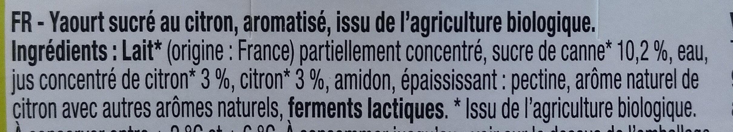 Yaourt sucré citron - Ingrédients - fr