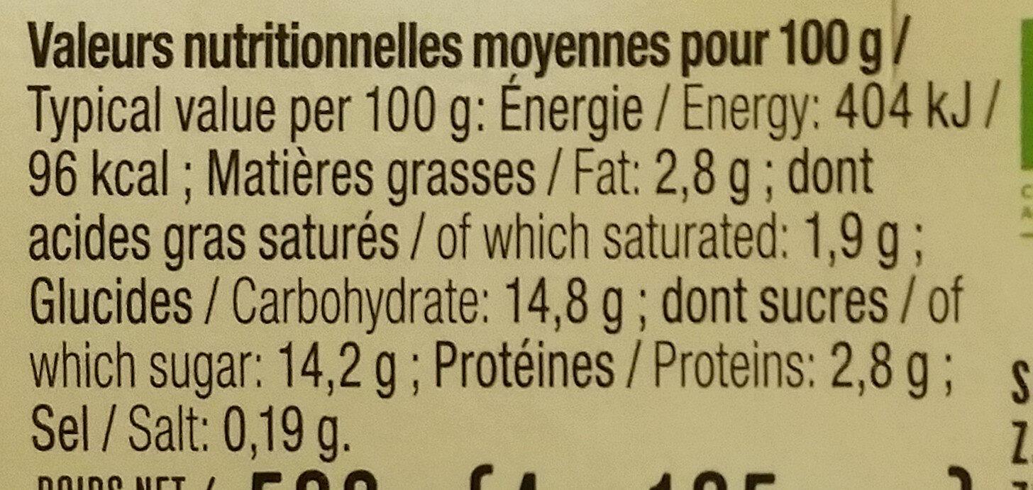 Yaourt sucré citron - Informations nutritionnelles - fr