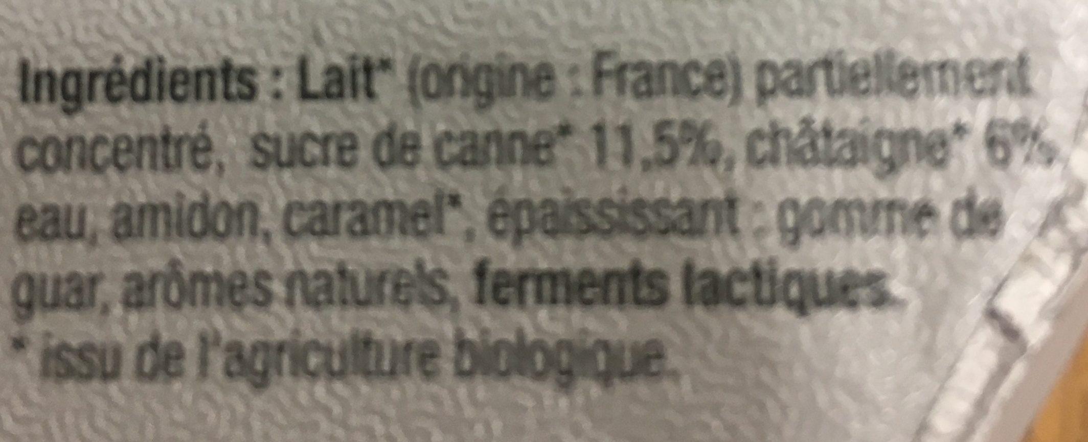 Yaourt Sucré sur Lit de Fruits de Saison, Hiver : Châtaigne et Figue - Ingredients - fr