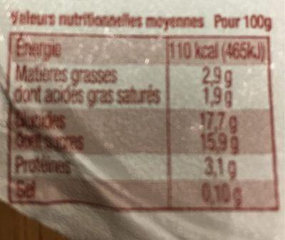 Yaourt Sucré sur Lit de Fruits de Saison, Hiver : Châtaigne et Figue - Informations nutritionnelles - fr