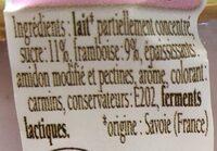 Yaourt a la framboise - Ingrediënten