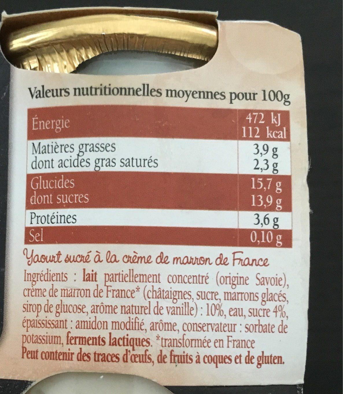 Savoie Yaourt aux marrons - Informations nutritionnelles - fr