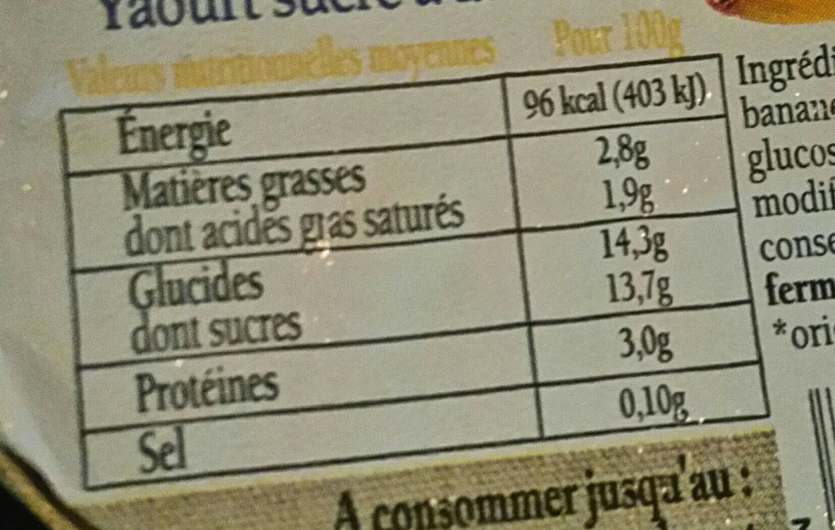 Plaisir des Alpes au kiwi - Voedingswaarden - fr