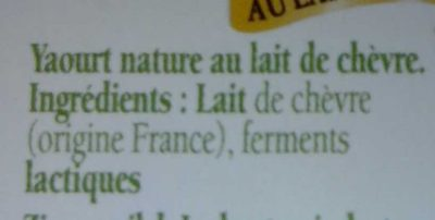 Savoie yaourt au lait de chèvre - Ingrediënten - fr