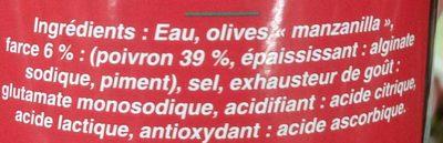 Olives au Poivron - Ingrédients
