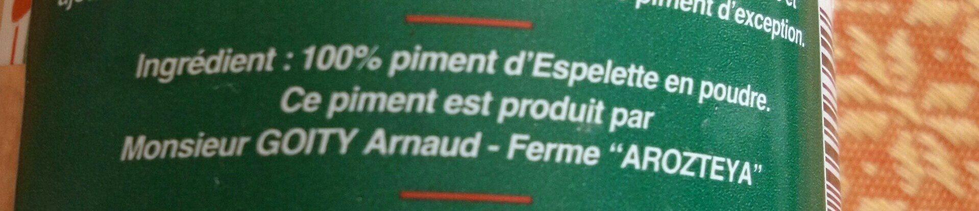 Piment D'espelette En Poudre, - Ingredients - fr