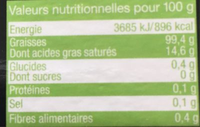 Huile olive vierge extra - Informations nutritionnelles - fr
