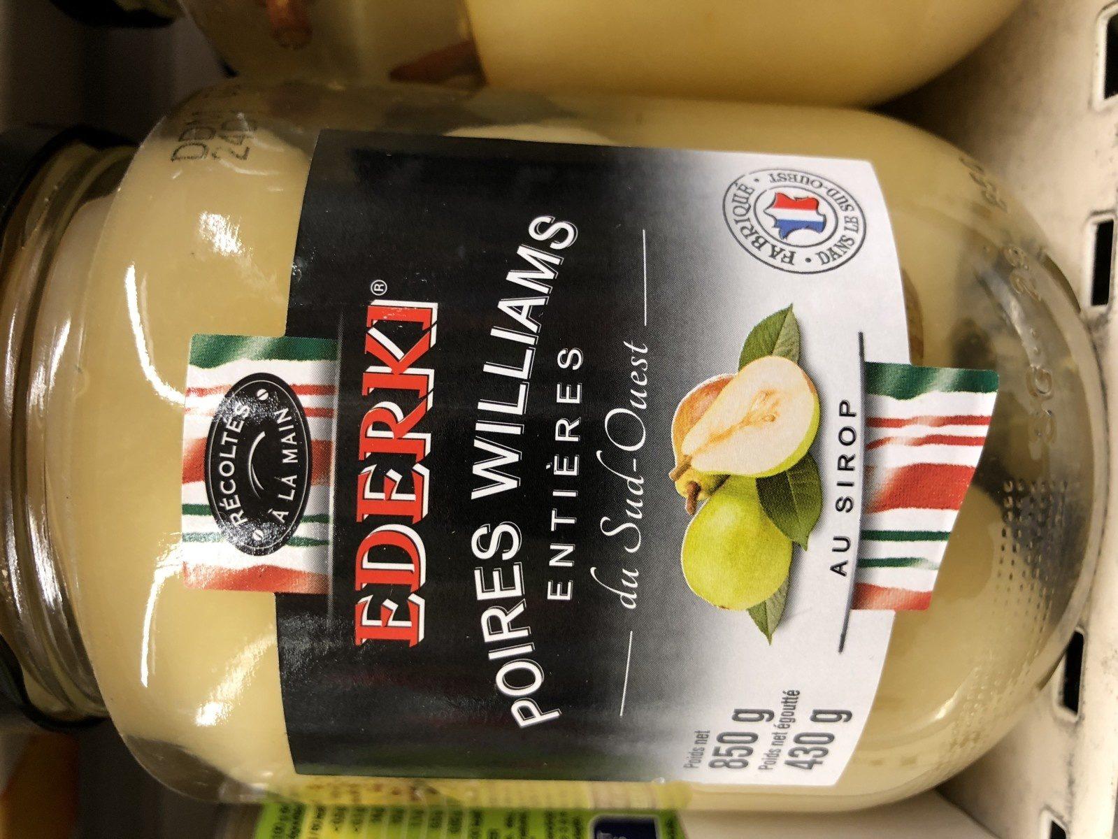 Poires Williams entières au sirop EDERKI - Ingredients - fr