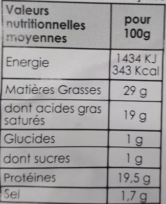 Fromage au lait pasteurisé - Nutrition facts - fr
