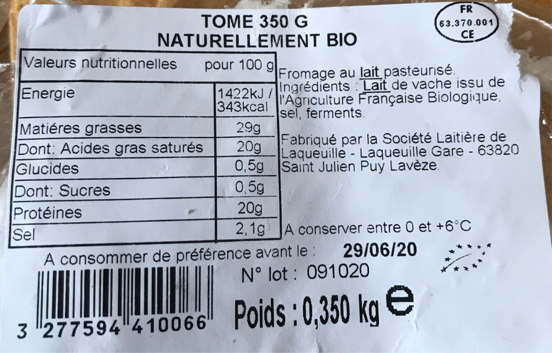 Tome bio - Informations nutritionnelles - fr
