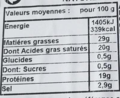 Bleu d'Auvergne - Nutrition facts - fr