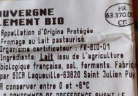 Bleu D'auvergne Bio - Ingredients - fr