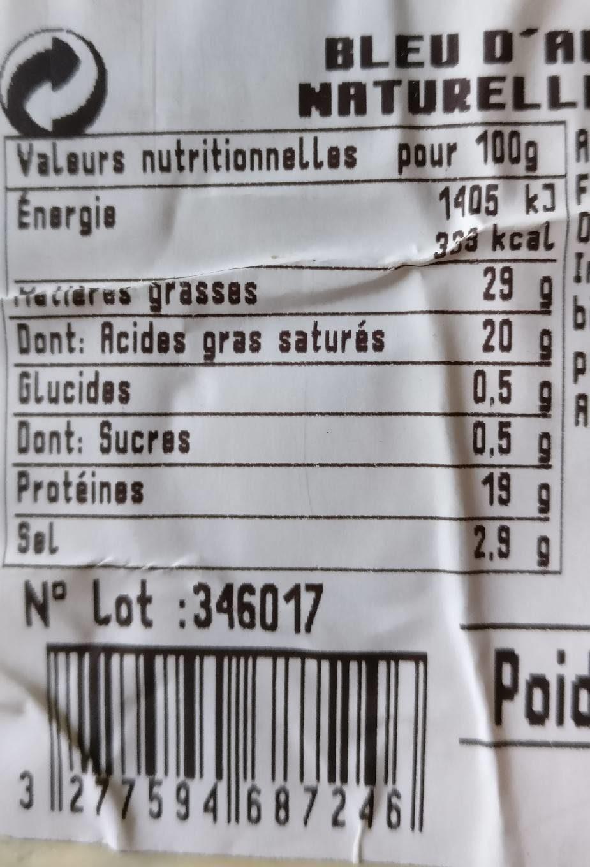 Bleu D'auvergne Bio - Nutrition facts - fr