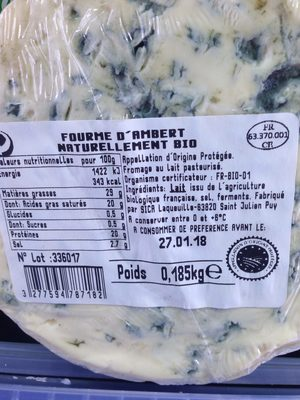 Fourme d'Ambert - Ingredients