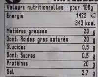 Fourme d'Ambert - Nutrition facts
