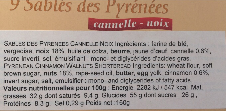 Sablés des Pyrénées cannelle-noix - Informations nutritionnelles - fr