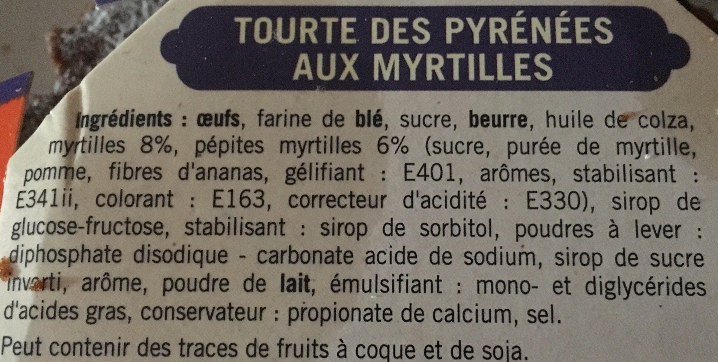 Tourte des Pyrénées Myrtilles - Ingrediënten - fr