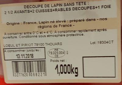 Lapin Entier - Ingrédients