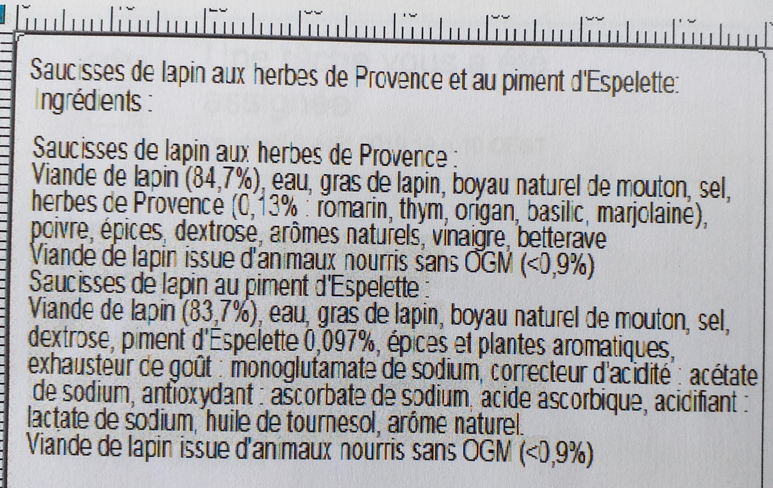 Saucisses de lapin - Ingrediënten - fr