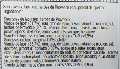 MINI-SAUCISSES LAPIN:herbes de Provence + piment d'Espelette - Ingrediënten - fr