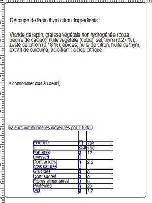 LAPIN THYM CITRON: épaule, côtes, râble + cuisse - Nutrition facts