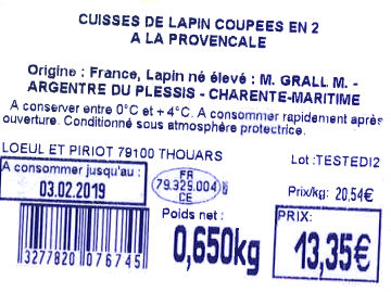 CUISSES DE LAPIN COUPEES EN 2 A LA PROVENCALE - Ingredients