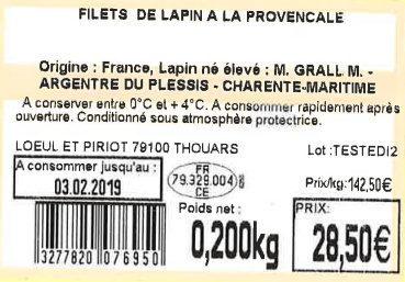 FILETS DE LAPIN A LA PROVENCALE - Ingredients