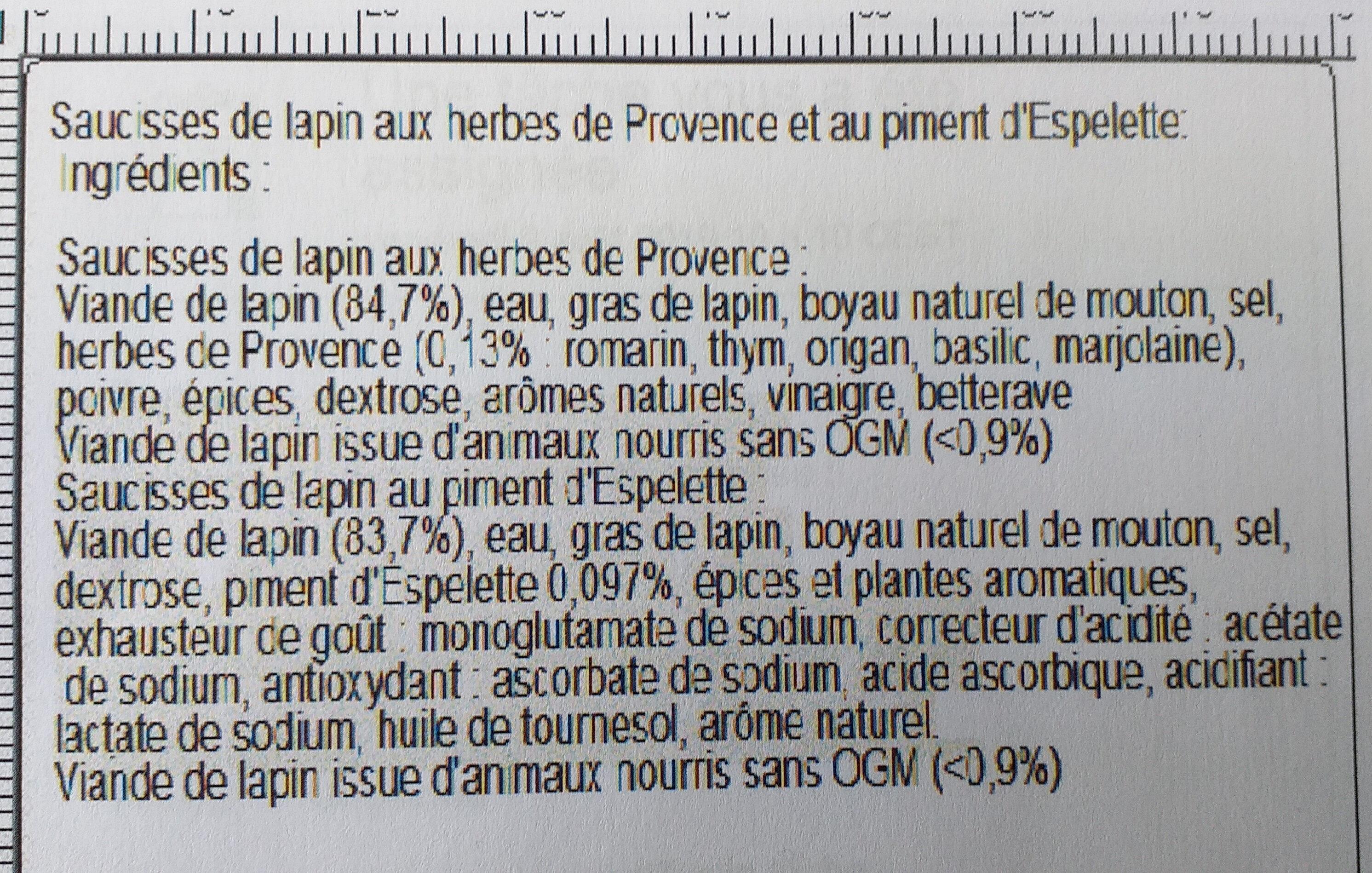MINI-SAUCISSES LAPIN: Herbes Provence + piment d'Espellette - Ingrediënten - fr
