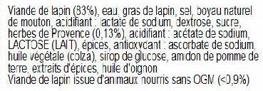 8 SAUCISSES DE LAPIN AUX HERBES DE PROVENCE - Ingredients