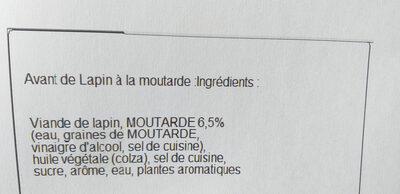 2 Gigolettes de Lapin marinées à la moutarde - Ingredients