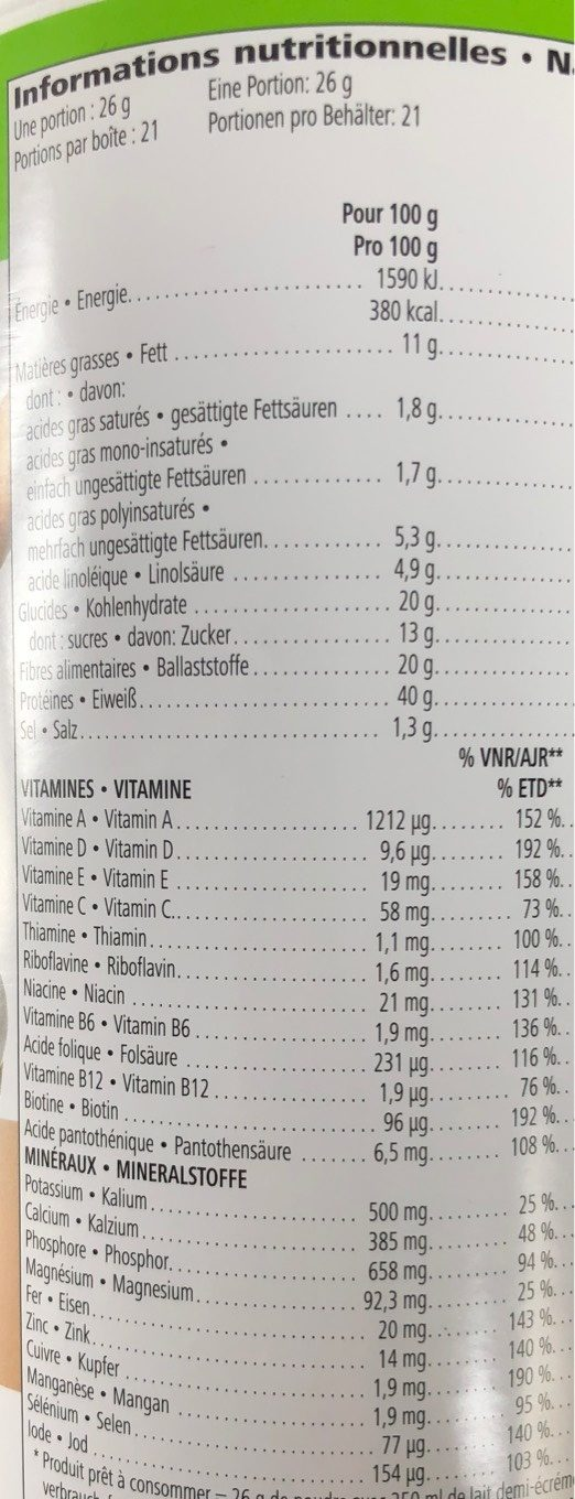 Boisson nutritionnelle - Nutrition facts - fr