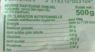 Beurre Le Hameau demi-sel - Informations nutritionnelles - fr