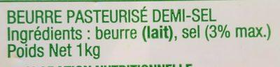 Beurre demi sel - Ingrédients - fr