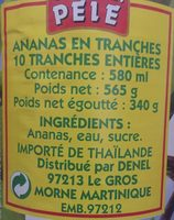 Ananas Conserve Mont Pelé - Ingredients
