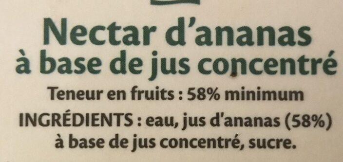 Nectar Ananas - Ingredients