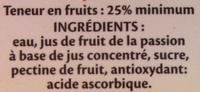 Nectar fruits de la passion à base de jus concentré - Ingredients